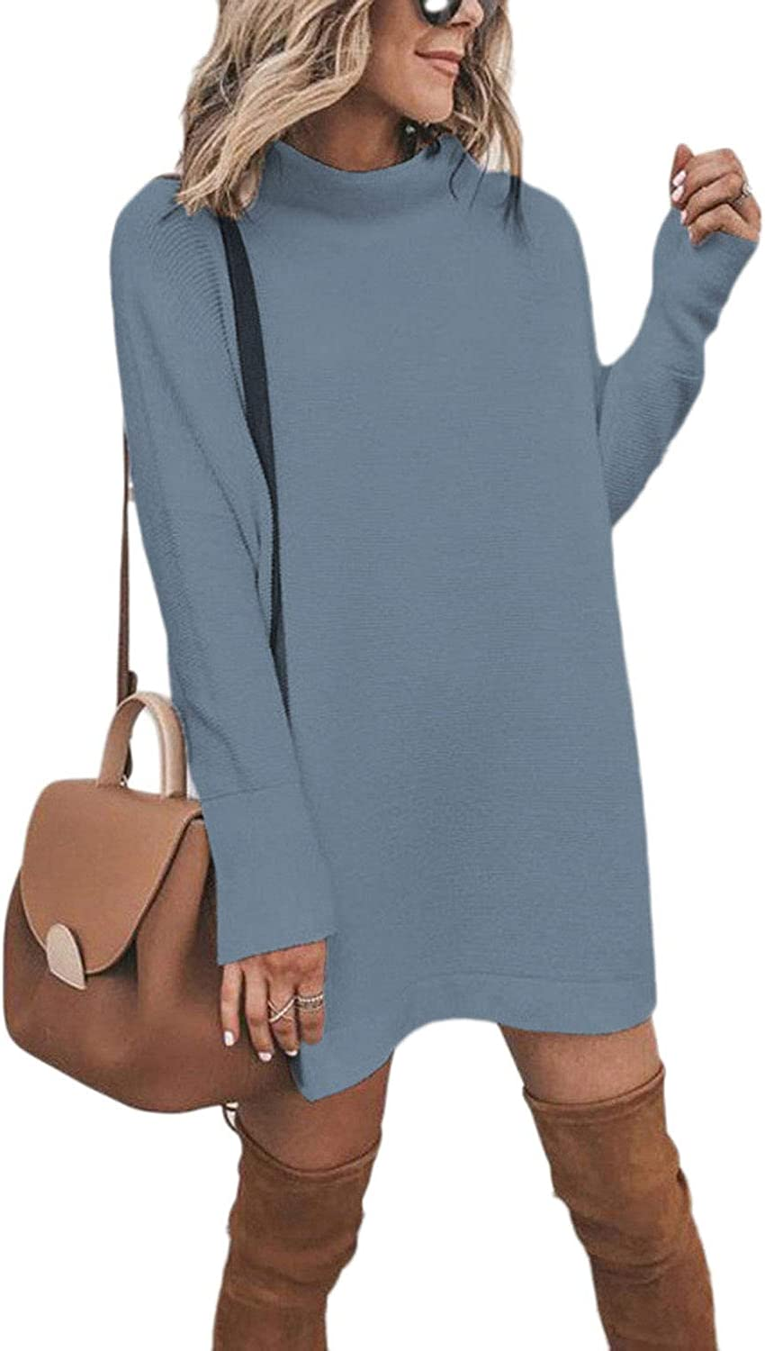 Meenew Women's High Neck Casual Loose Long Knit Pullover Sweater Tops Blue M
