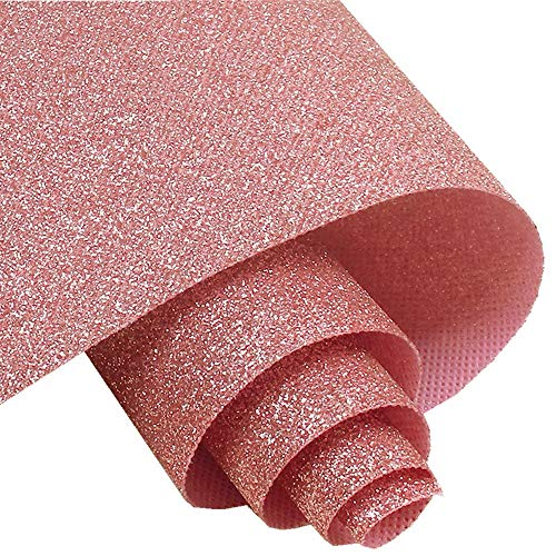 Self Adhesive Pink Fine Glitter Wallpaper, Peel and Stick Roll Sparkle Glitter Decor Art Craft Fabric (17.4in x 16.4ft (One Roll))