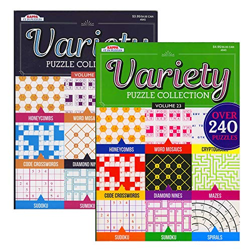 Kappa Variety Puzzles & Games Book 2 Titles, Word Search Find Words Books for Adults Teens, Training Learning with Game, 2-Pack