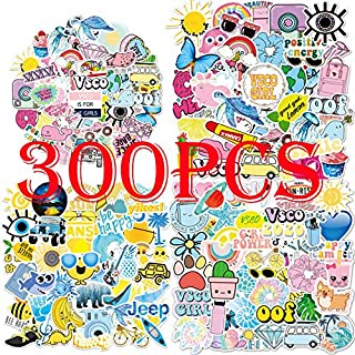 300PCS VSCO Stickers for Water Bottle Hydro Flask, Waterproof Aesthetic Vinyl Decal Stickers for Teens Girls Perfect for H...