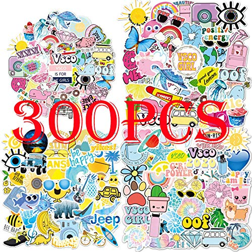 300PCS VSCO Stickers for Water Bottle Hydro Flask, Waterproof Aesthetic Vinyl Decal Stickers for Teens Girls Perfect for Hydro Flask, Waterbottle Laptop Phone Travel Bag