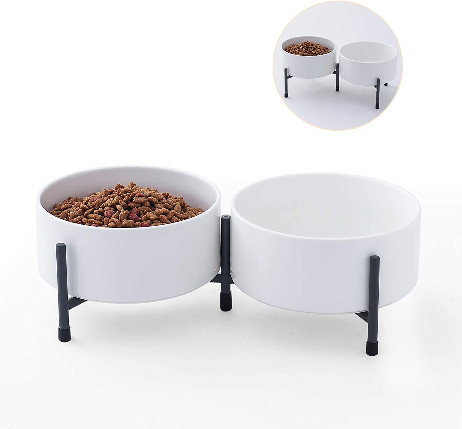 6 Inch Ceramic Cat Dog Bowl Dish Sets with Metal Stand for Food and Water - 32 Ounces Pet Food Water Feeder Cats Small Dogs - White - Set of 2