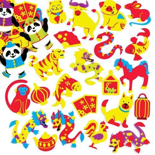 Baker Ross Chinese New Year Foam Stickers (Pak van 120) voor kinderen om te spelen en te versieren