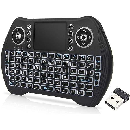 Docooler Retroiluminado 2.4 GHz 92 Teclas Teclado Inalámbrico Touchpad Mouse Control Remoto de Mano 3 Colores Retroiluminación para Android TV Box ...