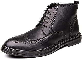 أحذية رجالية عارضة أحذية الرجال في فصل الشتاء الأح Boots for Men Brogue Carve Wingtip Inner Zipper Lace Up Pointed Toe Blo...