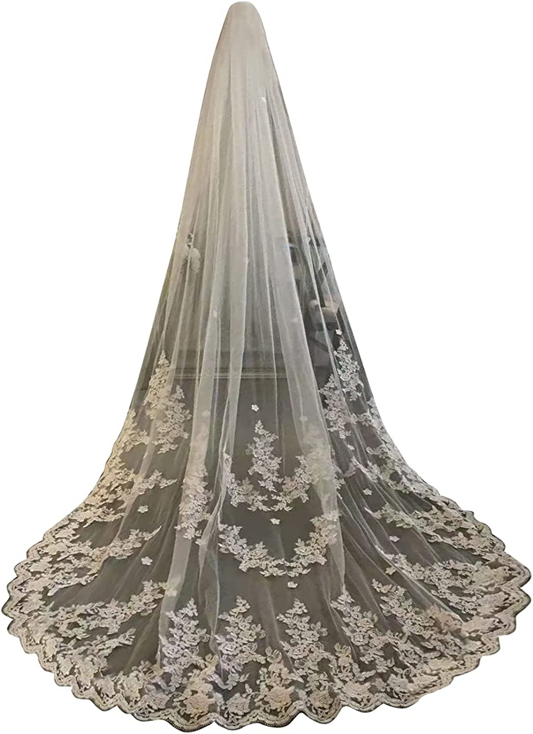 Wedding Veils for Brides Ivory Cathedral 1 Tier Floral Lace Appliques with Comb