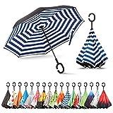 Sharpty Inverted Umbrella, Umbrella Windproof, Reverse Umbrella, Umbrellas for Women, Upside Down Umbrella with C-Shaped Handle (Stripe)