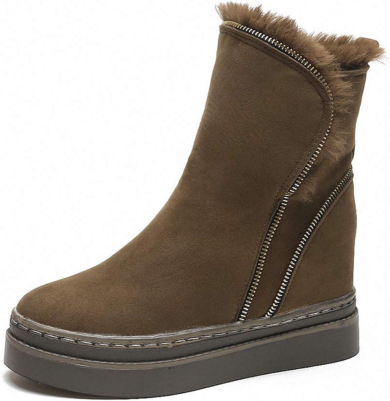 Kyle Walsh Pa Women Warm Boots Hidden Wedge Soft Fur Metal Zipper Round Toe Female Winter Ankle Booties