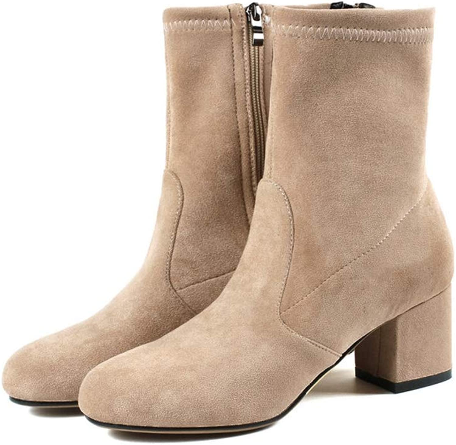 GIY Women Round Toe Ankle Boots Winter Faux Suede Chunky Mid Heels Zip Comfortable Non Slip Short Booties