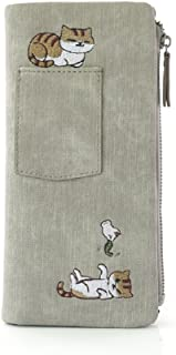 Embroidered cat Canvas Wallet for Women Long Purse Organizer (Color : Gray)