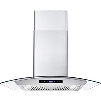 Cosmo 668WRCS75 Wall Mount Range Hood with Ducted Exhaust Vent, 3 Speed Fan, Soft Touch Controls, Tempered Glass, Permanent Filters in Stainless Steel, 30 inches
