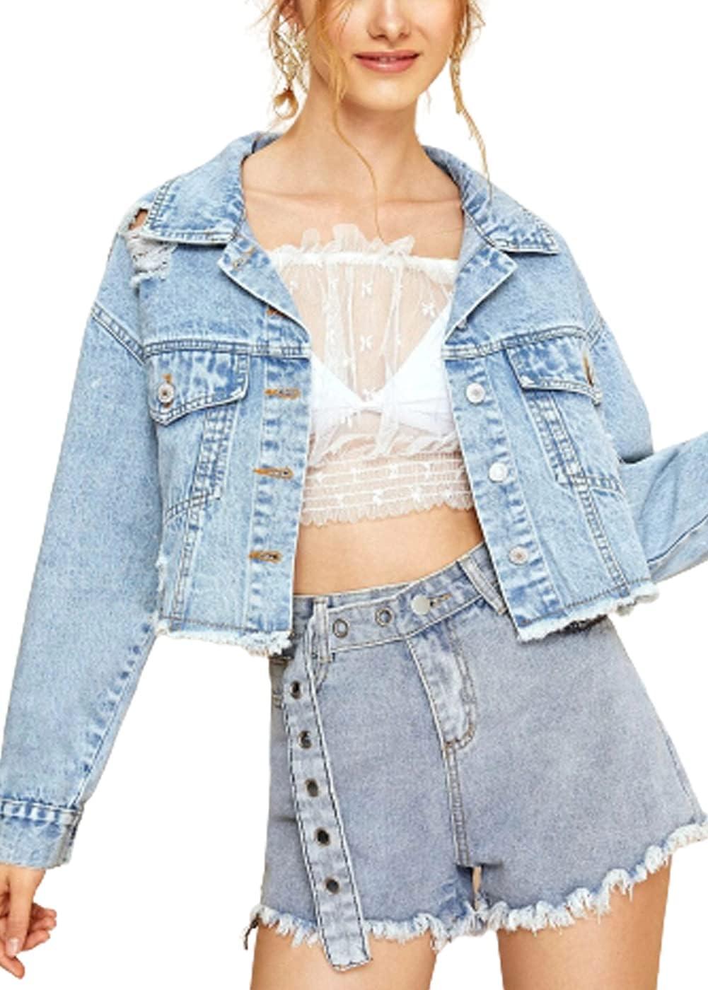 WanXingLiHe Loose Fashion Ripped Denim Jacket for Women, Raw Edge Boyfriend Style Jean Coats Streetwear,Light Blue,XS