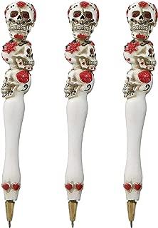 Ebros Gift Colorful Dias De Los Muertos Day Of The Dead Sugar Skull Pen Set of 3 Ossuary Macabre Halloween Bones Skeletons Skulls Writing Pens (Hearts And Roses)