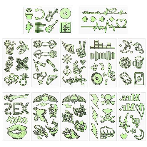 CHALA 12PCS Tatuajes Adhesivos Temporales, Face Painting Stickers Tatuaje Brillan en la Oscuridad Pegatinas Efecto de Brillo de Tatuaje para Festivales Fiesta de Luz Negra Pintura Corporal