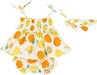 HINK Conjuntos y Conjuntos para niñas, bebés recién Nacidos con Tirantes y Estampado de limón Tops con Estampado de limón ...