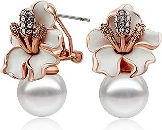 Rose Gold/Silver Plated Flower Pearl Earrings Stud for Women
