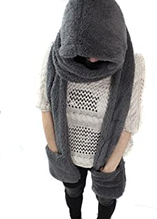 Natuworld Women Cute Winter Thick Warm Hoodie Gloves Pocket Earflap Hat Soft Scarf Shawl Wraps