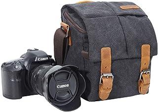 Kameraväska, vintage kanvas kamera axelväska vattentät läder trim DSLR SLR stötsäker kamera messengerväska svart