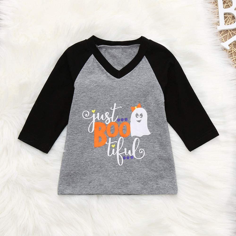 KONFA Teen Toddler Baby Boys Girls Halloween Clothes,Letter Ghost Long Sleeve T-Shirt Blouse Tops,for 1-5 Years Kids