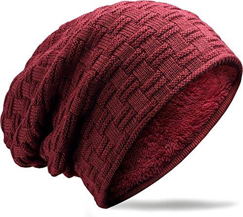 MUCO Chapeau Beanie Cap Bonnet Chapeaux tricotés Hommes/Femmes Hiver Polaire Doublure Unisexe Ski Plein air,Taille unique,Rouge