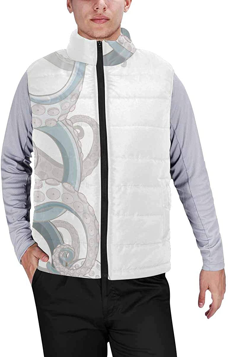 InterestPrint Men's Winter Full-Zip Outwear Padded Vest Coats Template Frame Design