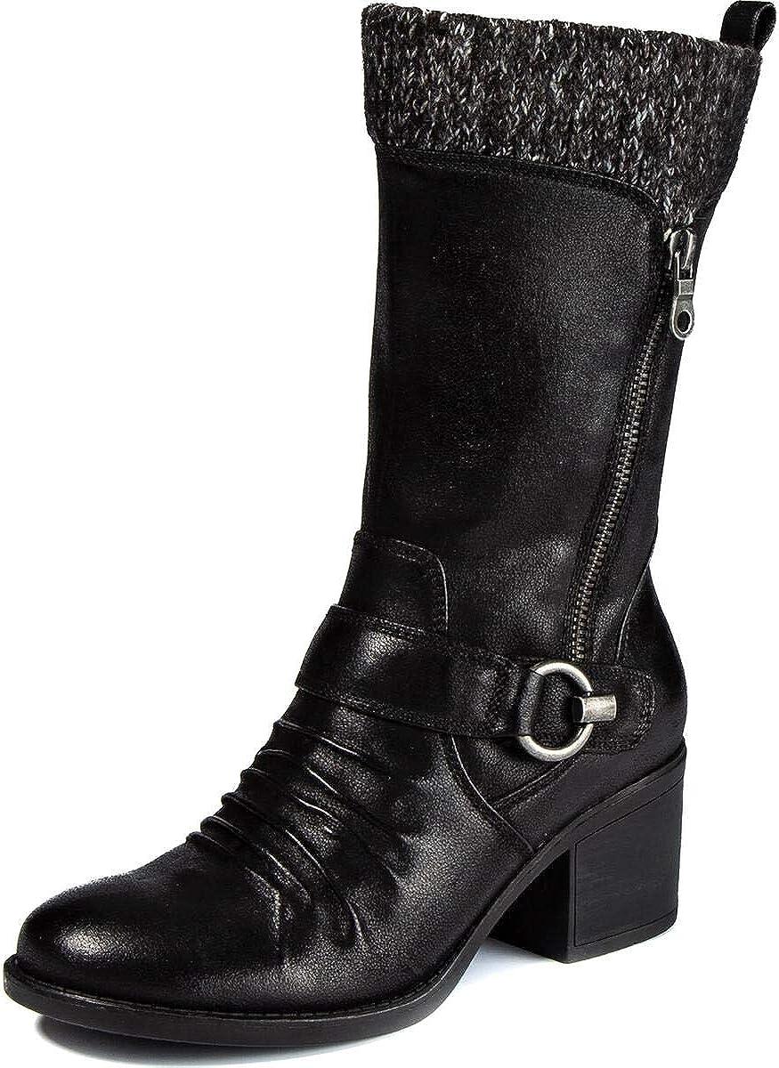 BareTraps Womens Wylla Faux Leather Knit Trim Mid-Calf Boots