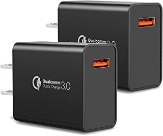 [2-Pack] Quick Charge 3.0 Wall Charger,18W QC 3.0 USB Wall Charger Adapter Fast Charging Block Compatible Wireless Charger Compatible with Samsung Galaxy S10 S9 S8 Plus S7 S6 Edge Note 9, LG, Kindle
