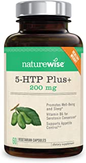 NatureWise 5-HTP Max Potency 200mg | Mood Support, Natural Sleep Aid & Helps Curb Appetite | Delayed Release Capsules Easy on The Stomach | Enhanced w/Vitamin B6 | Non-GMO [2 Month Supply - 60 Count]