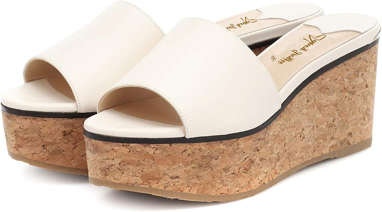 NJ Women Summer Holiday Open Toe Strappy Wedge Heel Sandals Platform Slip On Slide Easy Walking Comfort Dress Slippers