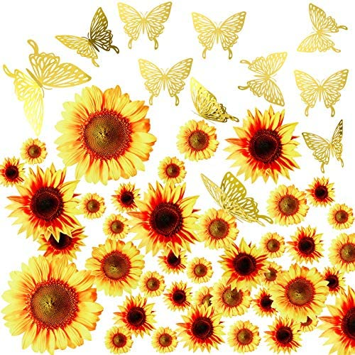 66 PCS Sunflower Wall Stickers with 3D Butterfly Wall Sticker DIY Sunflower Mural Stickers Removable product image