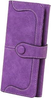 Women's Vegan Leather 17 Card Slots Card Holder Long Big Bifold Wallet,Purple