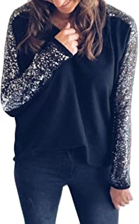 Zimaes Women Patchwork V-Neck Long-Sleeve Sequin Pullover Tops Shirts