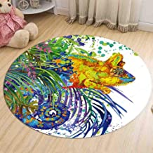 Rugs Round Flannel Animal Rug Warm and Odor-Free and Durable Carpet Living Room Doormat Balcony Bay Window Mat,4,80cm