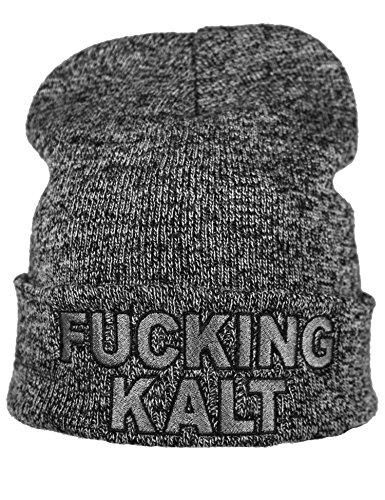 Strickmütze: Fucking Kalt - Wollmütze/Wintermütze/Rollmütze/Long Beanie/Mütze/Seemannsmütze/Unisex Herren Damen/Cool Design Logo Bestickt/Hip Hop (One Size Grau)