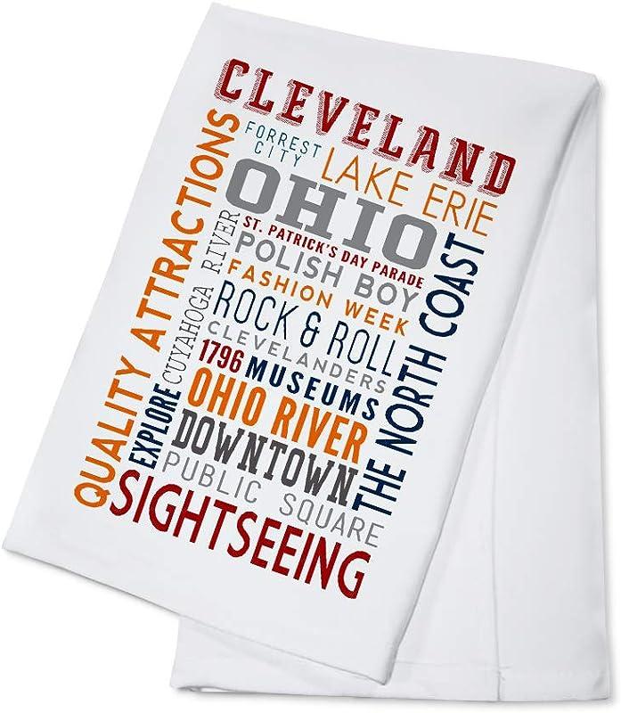 Cleveland Ohio Typography 97458 100 Cotton Kitchen Towel