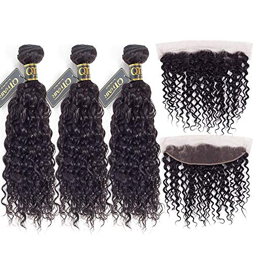QTHAIR 12A Brazilian Hair Bundles with Frontal(20 18 16+14,Natural Black) Best Virgin Brazilian Hair Bundles Black Hair Water Wave Frontal Lace Closure with Bundles