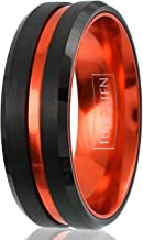 King's Cross Awesome 6mm/8mm Brushed Satin Finish Black Tungsten Carbide Band Ring with Metallic Persimmon Orange Stripe & Matching Orange Anodized Aluminum Comfort Fit Inner Band.