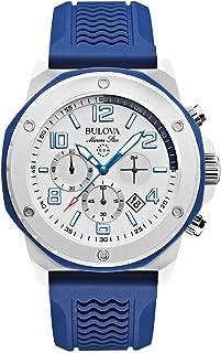 Bulova - Reloj analógico de Cuarzo para Hombres, Correa de Caucho, Color Azul y Blanco