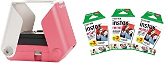 KiiPix Smartphone Picture Printer, Pink with Instax Mini Instant Film Value Pack - (3 Twin Packs, 60 Total Pictures)