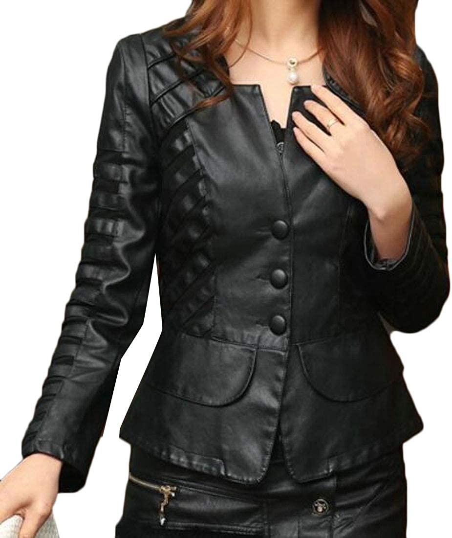 XiaoTianXinWomen XTX Womens Over Sized Lapel Relaxed Fit Patchwork Bomber Faux Leather Jacket Black US 2XL