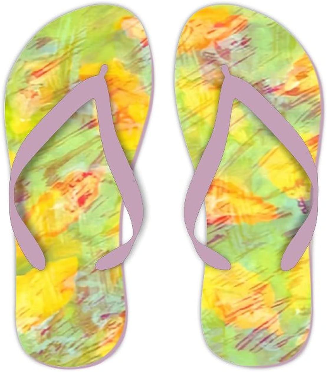 Summer Flip Flops for Men Women Abstract Watercolor Light Yellow Background Soft Lightweight Non Slip Sandals for Shower Beach Pool Bathroom Flat 11.5