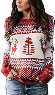 Womens Ugly Christmas Sweater Cute Xmas Tree Reindeer Knitted Long Sleeve Pullover Tops