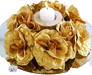 BalsaCircle 8 Gold Silk Roses Candle Rings - Artificial Flowers Wedding Party Centerpieces Arrangements Bouquets Supplies