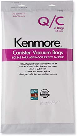 Kenmore Type Q/C Vacuum Bags Hepa for Canister Vacuums 6 Pk Media Filtration Synthetic