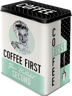 """Nostalgic-Art Retro Vorratsdose L Geschenk-Idee für Nostalgie-Fans, Große Kaffee-Dose aus Blech, Say it 50""""s - Coffee First, 3 l"""