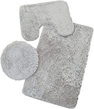JL Bath Mat + Contour Mat + Toilet Lid Cover Soft Non Slip Bathroom Rug 3 Piece Sets Grey