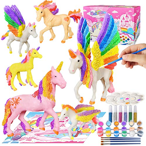 Yileqi Paint Your Own Unicorn Painting Kit, Unicorns Paint Craft for Girls Arts and Crafts for Kids Age 4 5 6 7 8 9 Years Old, Unicorn Party Favor Art Supplies DIY Kit Activities for Kid Birthday Gift