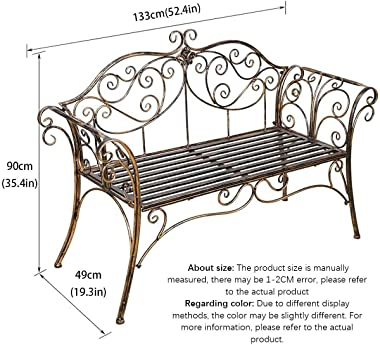 Carved Loveseat Bench, Outdoor Garden Bench, Terrace Seat, with Armrests Cast Iron Metal Park Bench Sturdy Steel Frame