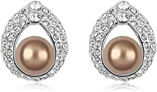 Element Pearl Earring Allure Girl Vintage Earrings,Bronze