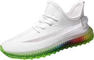 Lailailaily Trend Rainbow Men Jelly Soles Sneakers Outdoor Fly Knit Breathable Casual Shoes